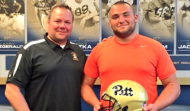Class of 2016 offensive lineman Chase Behrndt (right) visited Pittsburgh on Monday. (Source: Twitter account @BehrndtChase)