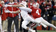 Wisconsin's Devin Gaulden, right, breaks up a pass during last November's Wisconsin-Nebraska game. Wake Forest announced Tuesday that Gaulden would be a graduate transfer for the Demon Deacons this fall (AP Photo/Morry Gash)