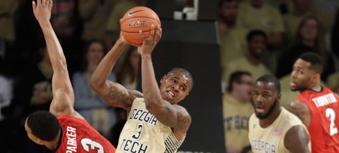 Marcus Georges-Hunt (center) will not play in any of Georgia Tech's three games in the Bahamas. The decision was a precautionary measure. (AP Photo)