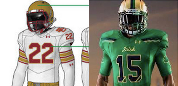 da3f8d7ea Boston College and Notre Dame are each breaking out special throwback  uniforms for the