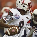 Louisville quarterback Lamar Jackson has been named team captain as a sophomore. (AP Photo/Mike Stewart)