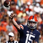 Virginia quarterback Matt Johns (15) throws a pass during the first half of an NCAA college football game against William & Mary on Saturday, Sept. 19, 2015 in Charlottesville, Va. (Ryan. M. Kelly//The Daily Progress via AP)
