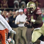 Dalvin Cook (right) rushed for 222 yards and two touchdowns against Miami last season. (AP Photo)