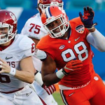 Clemson defensive end Kevin Dodd (right) is entering his name in the 2016 NFL Draft. (AP Photo)