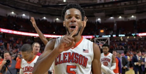 Clemson forward Jaron Blossomgame is returning to school for his senior year. (AP Photo)