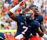 Former Virginia defensive end Eli Harold (7) lived up to his 4-star recruiting rating and then some. (AP Photo)