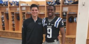 Class of 2017 athlete Joshua Blackwell (right) committed to Duke on Sunday. (Source: Twitter account @JoshuaBlackwe12)