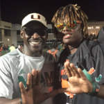 Coveted defensive end D.J. Johnson (right) committed to Miami on Monday. (Source: Twitter account @King_DJ01)