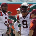 Dwayne Lawson (2) is transferring out of Virginia Tech's football program. (AP Photo)