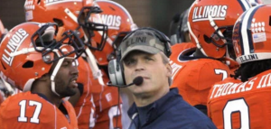 Tim Beckman during his brief and controversial time at Illinois. (AP Photo).