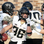 Cade Carney (36) rushed for three touchdowns in Wake Forest's 24-14 win over Duke on Saturday. (AP Photo)