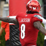 Lamar Jackson leads the nation with 10 rushing touchdowns. (AP Photo).