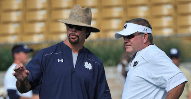 Brian VanGorder (left) was fired after Notre Dame's Saturday loss to Duke. (AP Photo)