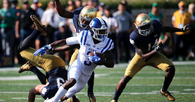 Sophomore wide receiver T.J. Rahming is leading Duke with 26 receptions through four games this season. (AP Photo)