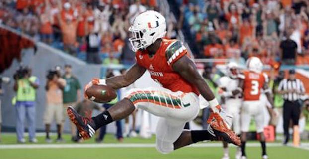 Miami running back Mark Walton has seven rushing touchdowns through three games. (AP Photo)