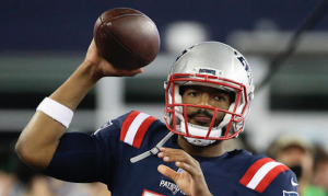 Former NC State quarterback Jacoby Brissett logged his first career NFL start with the New England Patriots on Sept. 22. (AP Photo)