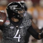 Virginia Tech quarterback Jerod Evans looks to pass against Tennessee during the first half of an NCAA college football game at Bristol Motor Speedway on Saturday, Sept. 10, 2016, in Bristol, Tenn. (AP Photo/Wade Payne)
