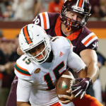 Virginia Tech sacked Brad Kaaya (15) eight times on Thursday night. (AP Photo)