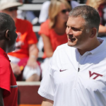 Justin Fuente has five wins in his first seven games at Virginia Tech. (AP Photo).