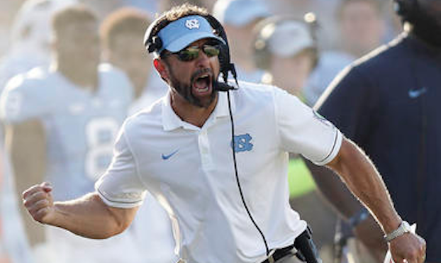 Larry Fedora pumps fist