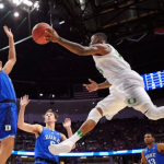 Chase Jeter played nine minutes in Duke's loss to Oregon in the NCAA Tournament. (AP Photo).