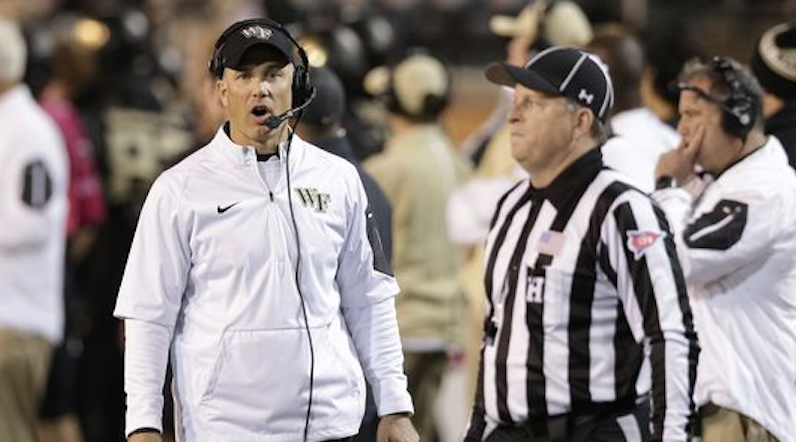 Dave Clawson coaches Wake Forest football
