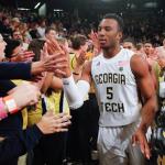 Josh Okogie celebrates Georgia Tech basketball