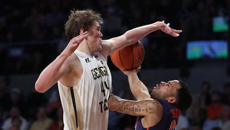 Ben Lammers blocks for Georgia Tech basketball