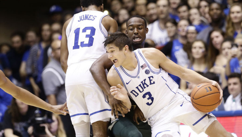 Grayson Allen drives to the basket