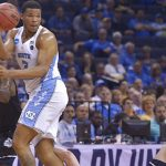 Kennedy Meeks grabs rebound for UNC