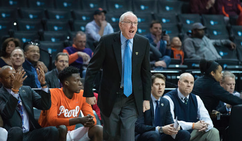 Jim Boeheim argues a call