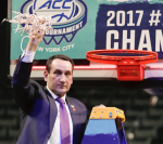 Coach K cuts down net