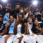 UNC basketball celebrates