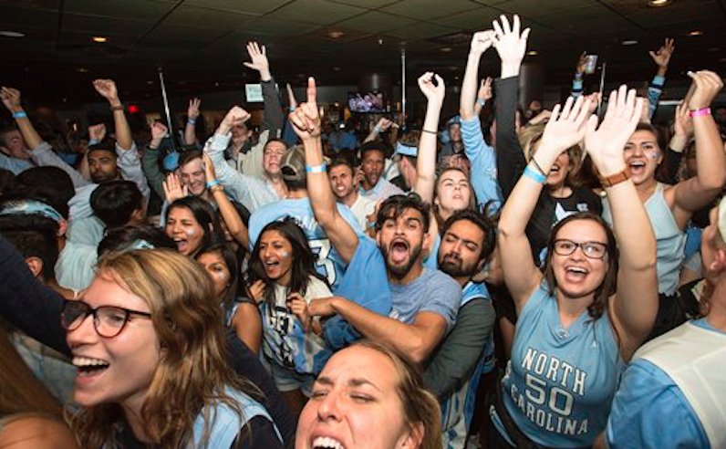 North Carolina fans celebrate
