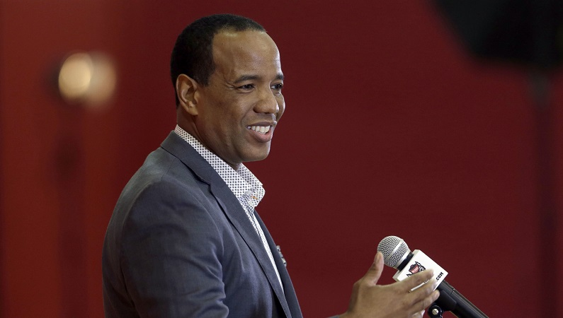 Kevin Keatts smiles