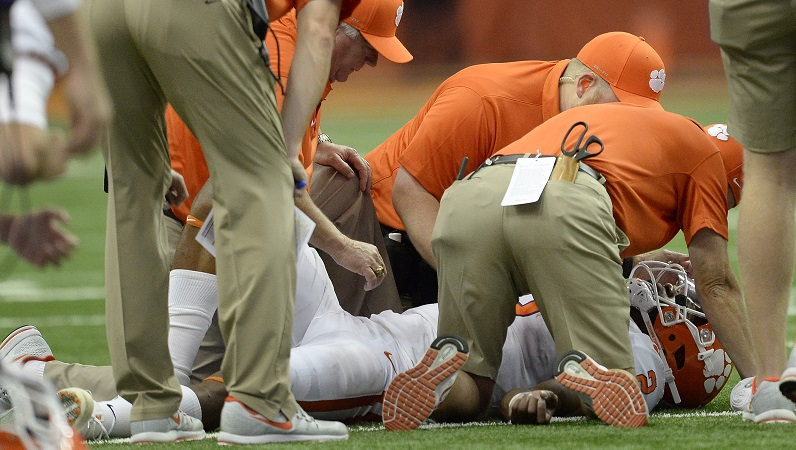 Kelly Bryant receives medical attention