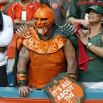 Miami Hurricanes fan in armor