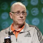 Jim Larranaga at podium
