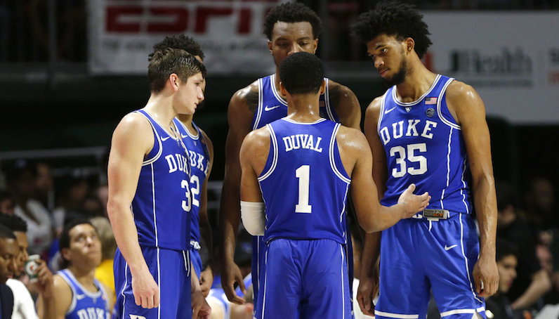 Duke huddles