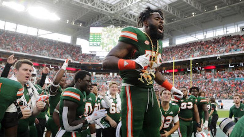 Miami football celebrates