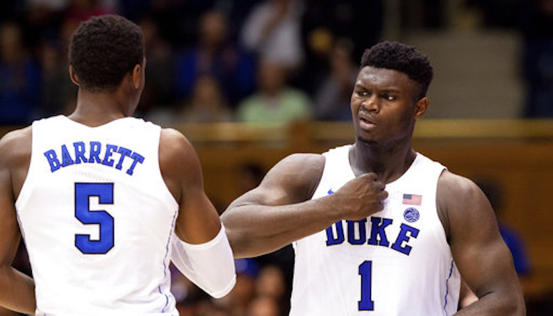 Zion Williamson celebrates