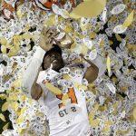 Travis Etienne celebrates
