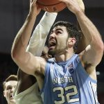 Luke Maye rebounds