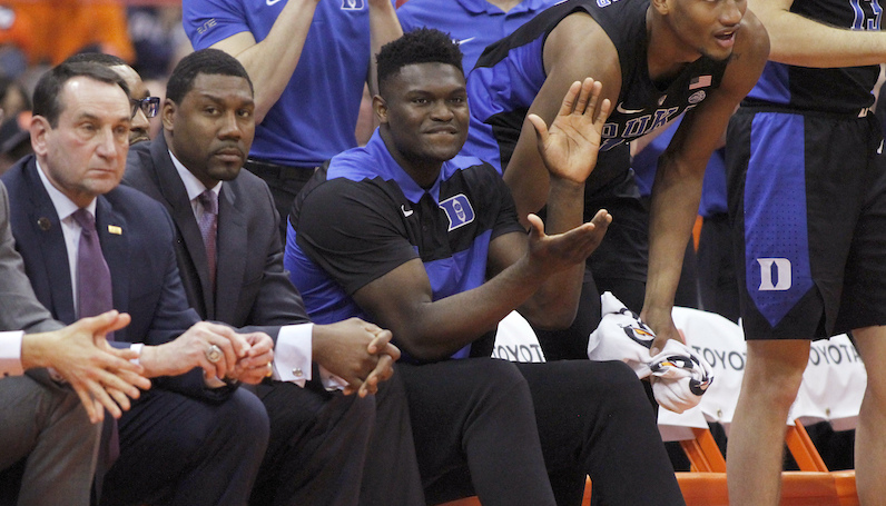 Zion Williamson cheers